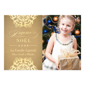Joyeux Noël Carte-Photo Papier Kraft et Or Invitation