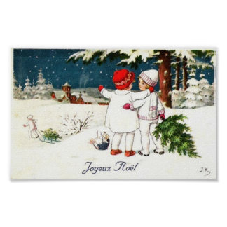 Joyeux Noel Children Xmas Card Poster