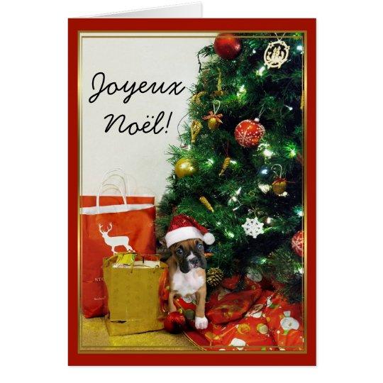 Joyeux Noël Christmas Boxer Dog greeting card