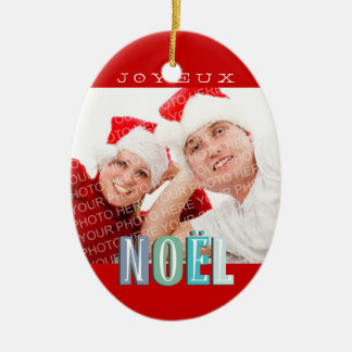 Joyeux Noel funky blue red chic christmas holiday Christmas Ornament