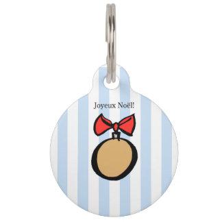 Joyeux Noël Gold Christmas Ornament Pet Tag Blue