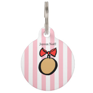 Joyeux Noël Gold Christmas Ornament Pet Tag Pink