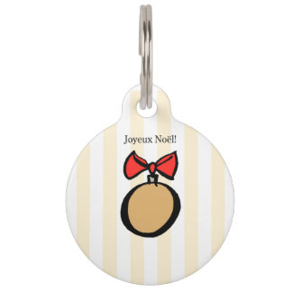 Joyeux Noël Gold Christmas Ornament Pet Tag Yellow