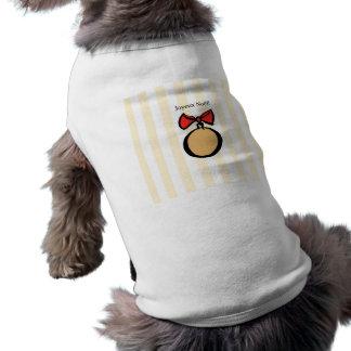 Joyeux Noël Gold Ornament Doggie Tank Top Yellow Sleeveless Dog Shirt