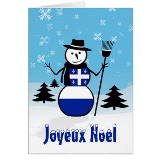 Joyeux Noel Merry Christmas Canada Snowman Quebec Card