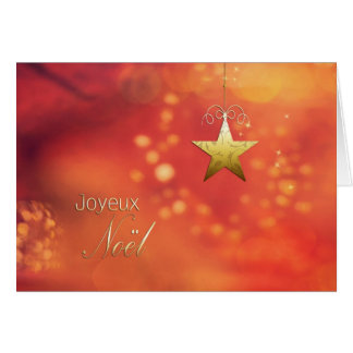 Joyeux Noël, Merry Christmas in French, Star Greeting Card