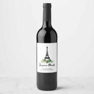 Joyeux Noel   Paris Christmas with Eiffel Tower Wine Label
