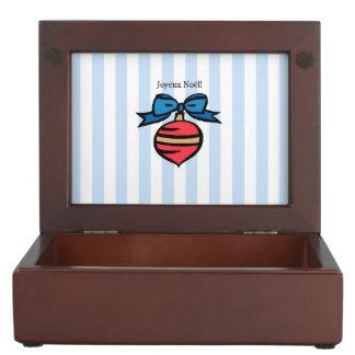 Joyeux Noël Red Ornament Keepsake Box Blue