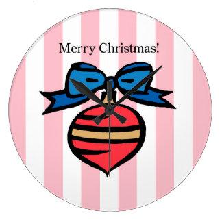 Joyeux Noël Red Ornament Round Large Clock Pink
