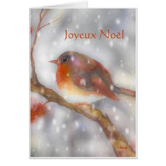 joyeux noel robin and snowflakes card
