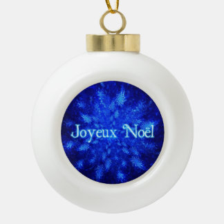 Joyeux Noel - Snowburst Ceramic Ball Christmas Ornament