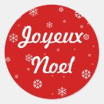 Joyeux Noel Snowflakes Round Stickers