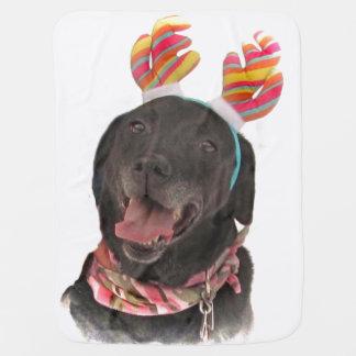 Joyful Black Labrador Retriever Dog Baby Blanket