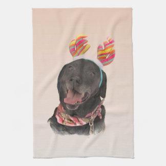 Joyful Black Labrador Retriever Dog Kitchen Towel