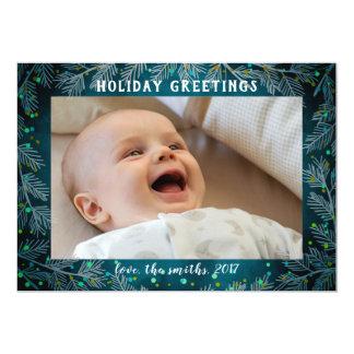 Joyful blue watercolor branches photo card
