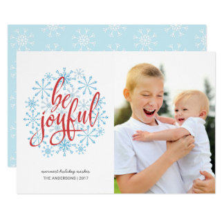 Joyful Casual Handwriting on Watercolor Snowflakes Card