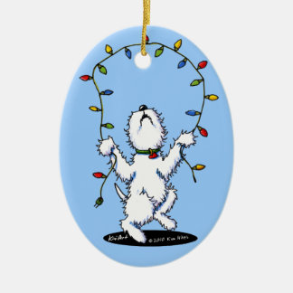 Joyful Christmas Westie Dog Ornament