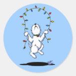Joyful Christmas Westie Stickers Round Sticker