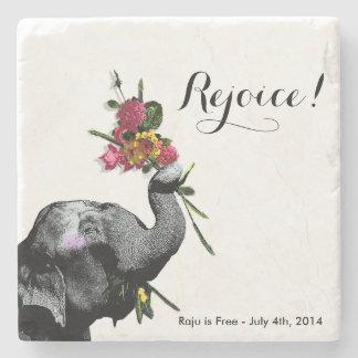 Joyful Elephant - Live for the Day! Stone Coaster