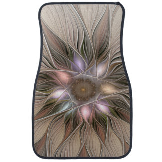 Joyful Flower Abstract Beige Brown Floral Fractal Car Mat