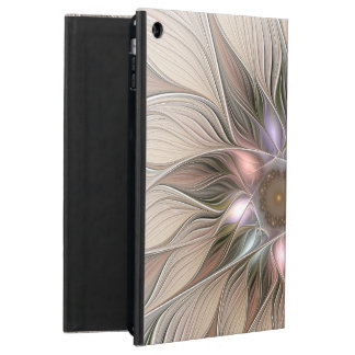 Joyful Flower Abstract Beige Brown Floral Fractal Case For iPad Air