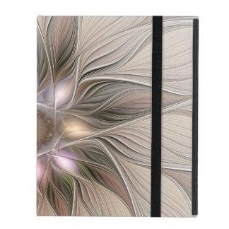 Joyful Flower Abstract Beige Brown Floral Fractal iPad Cover