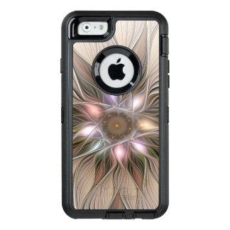 Joyful Flower Abstract Beige Brown Floral Fractal OtterBox Defender iPhone Case