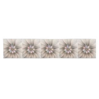 Joyful Flower Abstract Beige Brown Floral Fractal Short Table Runner