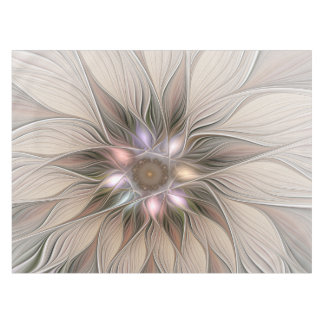 Joyful Flower Abstract Beige Brown Floral Fractal Tablecloth