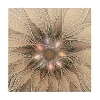 Joyful Flower Abstract Beige Brown Floral Fractal Wood Wall Art