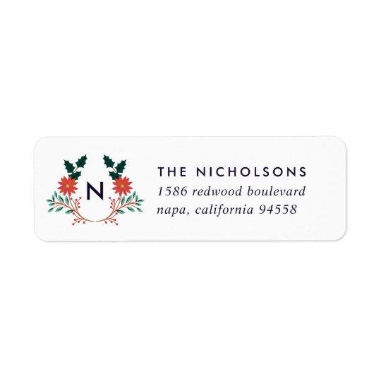 Joyful Foliage | Holiday Monogram Return Address Return Address Label