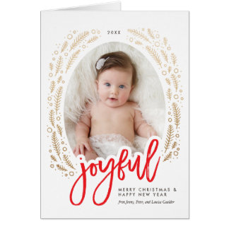 Joyful Frame Red & Gold Calligraphy Christmas Card