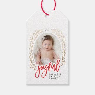 Joyful Frame Red & Gold Calligraphy Christmas Tags