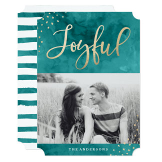 Joyful Gold   Holiday Photo Card