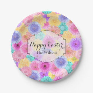 Joyful Happy Easter and Name Floral Paper Plate