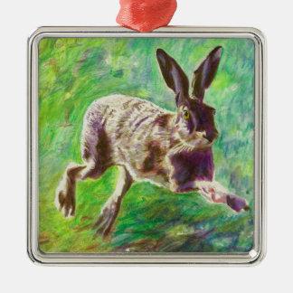Joyful hare 2011 Silver-Colored square decoration