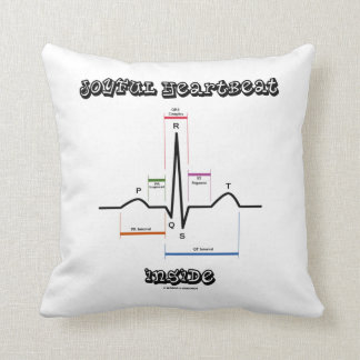 Joyful Heartbeat Inside ECG EKG Electrocardiogram Throw Pillow