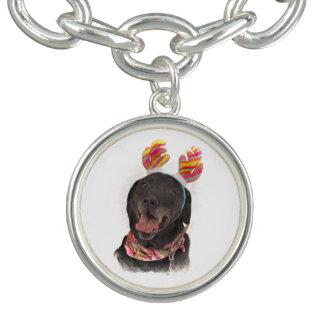 Joyful Holiday Black Labrador Retriever Dog
