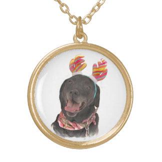 Joyful Holiday Black Labrador Retriever Dog Gold Plated Necklace