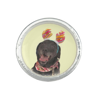 Joyful Holiday Black Labrador Retriever Dog Ring
