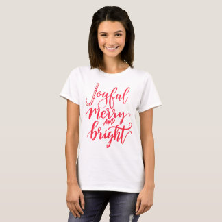 Joyful merry and bright red candy cane script T-Shirt