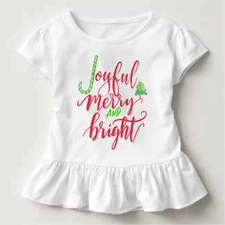 Joyful merry and bright red typography script toddler T-Shirt