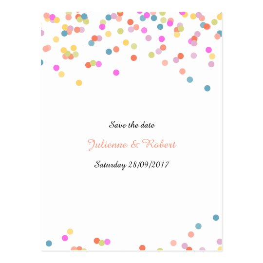 Joyful | Modern Confetti Save the Date Postcard