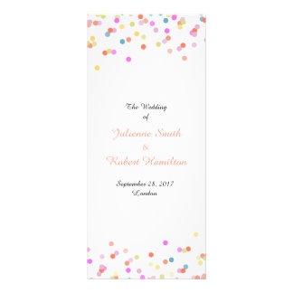 Joyful | Modern Confetti Wedding Program Custom Rack Card