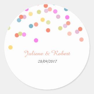Joyful | Modern Confetti Wedding Sticker