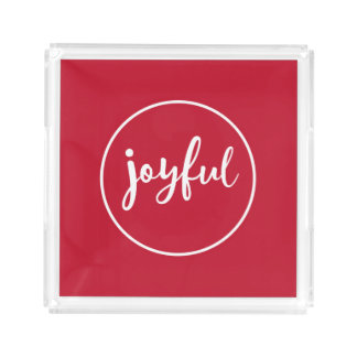 Joyful Modern Holiday Acrylic Tray