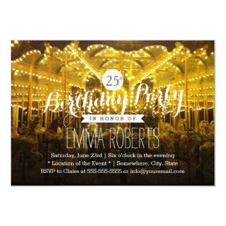 Joyful Night Time Merry Go Round Birthday Party Card