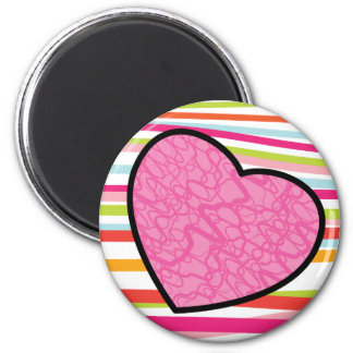 Joyful Pink Heart 6 Cm Round Magnet