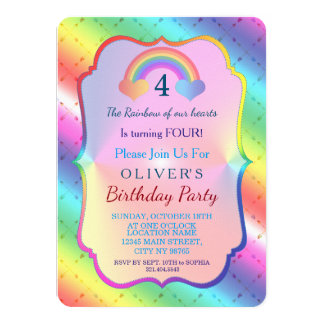 Joyful Rainbow Arrows BOY Birthday Invitation