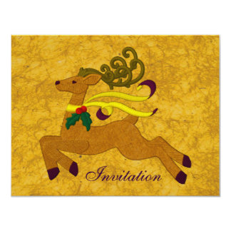 Joyful Reindeer In Gold Custom Personalised 11 Cm X 14 Cm Invitation Card